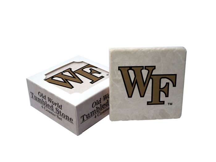 WAKE FOREST DEMON DECONS OLD WORLD TUMBLED STONE COASTER SET LIMITED EDITION FREE SHIPPING