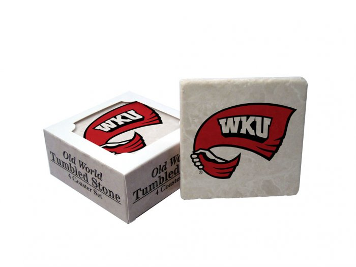 WESTERN KENTUCKY HILLTOPPERS OLD WORLD TUMBLED STONE COASTER SET LIMITED EDITION FREE SHIPPING