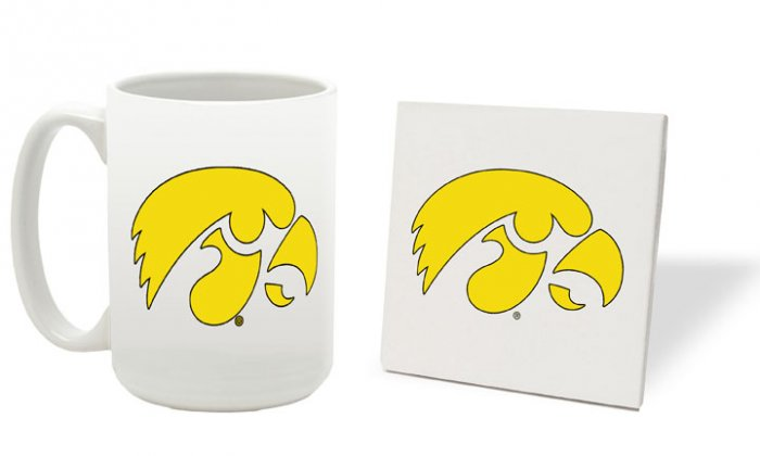 IOWA HAWKEYES 15 OUNCE CLASSIC COLLECTION LOGO SERIES MUG WITH MATCHING COASTER FREE SHIPPING