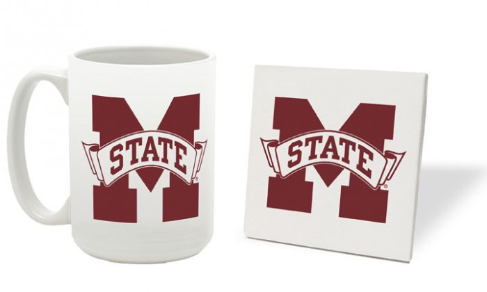 MISSISSIPPI STATE BULLDOGS 15 OUNCE CLASSIC COLLECTION LOGO SERIES MUG WITH COASTER FREE SHIPPING