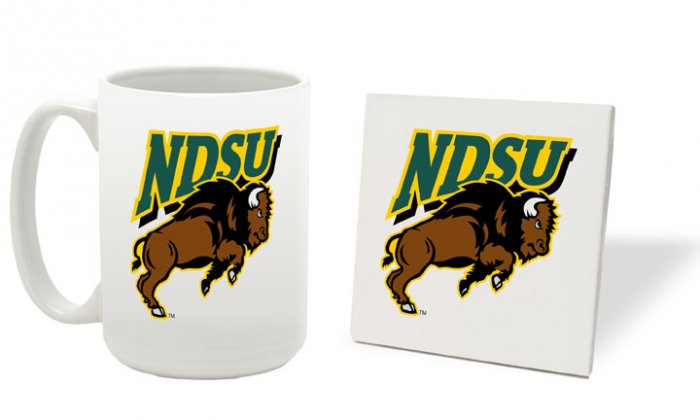 NORTH DAKOTA STATE BISON 15 OUNCE CLASSIC COLLECTION LOGO SERIES MUG WITH COASTER FREE SHIPPING