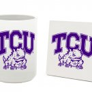 TCU TEXAS CHRISTIAN HORNED FROGS 15 OZ CLASSIC COLLECTION LOGO SERIES MUG WITH COASTER FREE SHIPPING