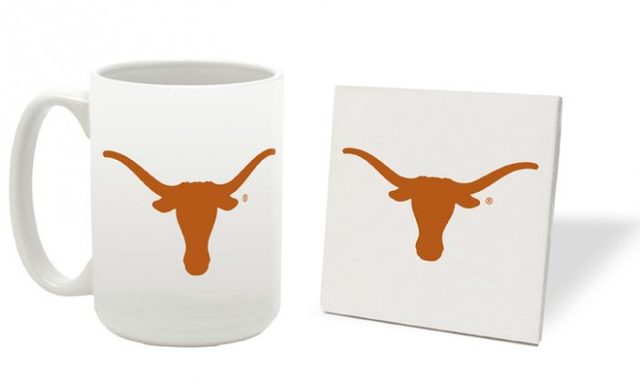TEXAS LONGHORNS 15 OUNCE CLASSIC COLLECTION LOGO SERIES MUG WITH MATCHING COASTER FREE SHIPPING