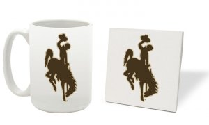 WYOMING COWBOYS 15 OUNCE CLASSIC COLLECTION LOGO SERIES MUG WITH MATCHING COASTER FREE SHIPPING