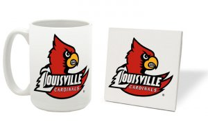 LOUISVILLE CARDINALS 15 OUNCE CLASSIC COLLECTION LOGO SERIES MUG WITH MATCHING COASTER FREE SHIPPING