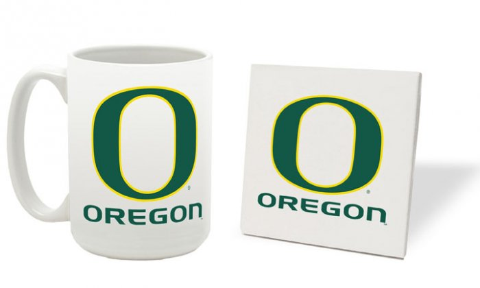 OREGON DUCKS 15 OUNCE CLASSIC COLLECTION LOGO SERIES MUG WITH MATCHING COASTER FREE SHIPPING
