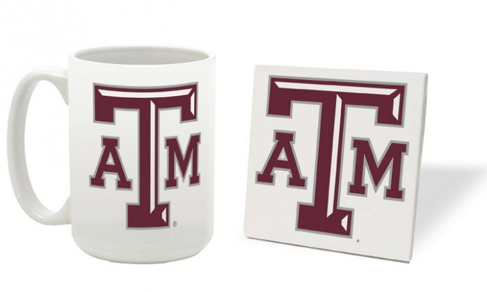 TEXAS A & M AGGIES 15 OUNCE CLASSIC COLLECTION LOGO SERIES MUG WITH MATCHING COASTER FREE SHIPPING