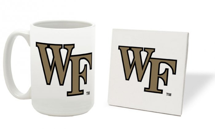 WAKE FOREST DEMON DECONS 15 OZ CLASSIC COLLECTION LOGO SERIES MUG WITH COASTER FREE SHIPPING