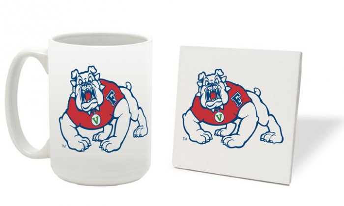 FRESNO STATE BULLDOGS 15 OZ CLASSIC COLLECTION LOGO SERIES MUG WITH MATCHING COASTER FREE SHIPPING