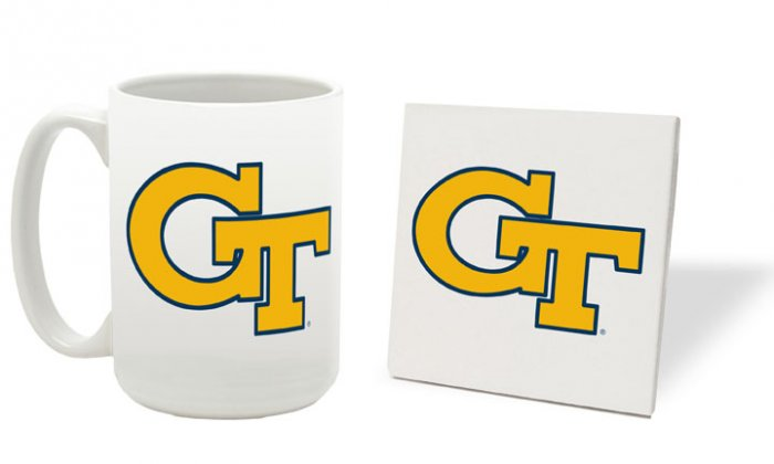 GEORGIA TECH YELLOWJACKETS 15 OZ CLASSIC COLLECTION LOGO SERIES MUG WITH COASTER FREE SHIPPING