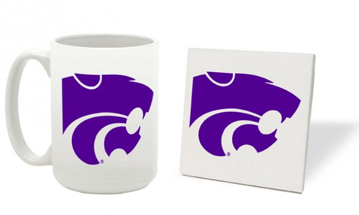 KANSAS STATE WILDCATS 15 OZ CLASSIC COLLECTION LOGO SERIES MUG WITH MATCHING COASTER FREE SHIPPING