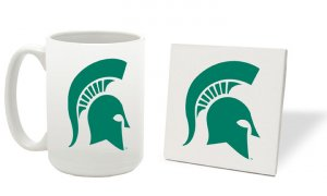 MICHIGAN STATE SPARTANS 15 OZ CLASSIC COLLECTION LOGO SERIES MUG WITH MATCHING COASTER FREE SHIPPING