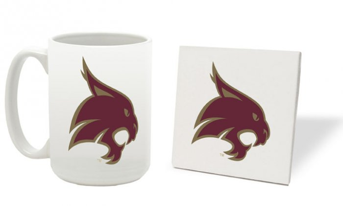 TEXAS STATE BOBCATS 15 OZ CLASSIC COLLECTION LOGO SERIES MUG WITH MATCHING COASTER FREE SHIPPING