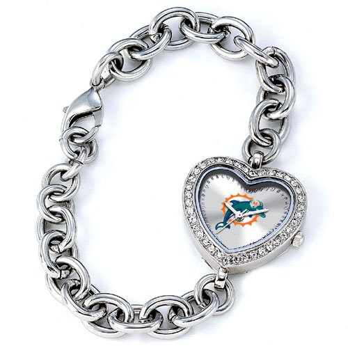 GAME TIME MIAMI DOLPHINS HEART WATCH  FREE SHIPPING LIFETIME WARRANTY