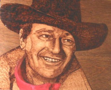 ORIGINAL WOOD BURN JOHN WAYNE 8X10