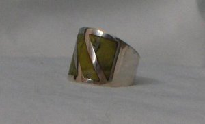 100% Genuine .950 Sterling Silver Ring with Jade