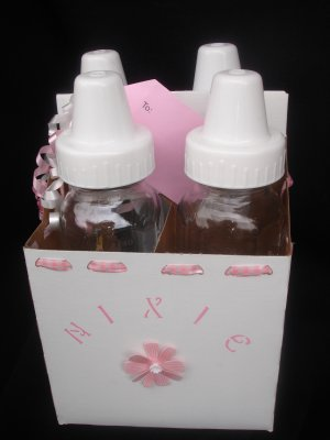 Girls Glass Baby Bottle Gift Set - Pink