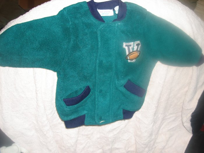 Zip up boy's dark green fleece football jacket 12M