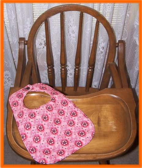 Toddler Girl Bib Brown Flowers on Pink