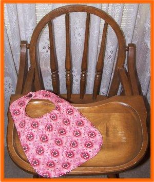 Toddler Girl Bib Brown Flowers on Pink