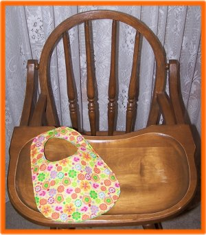 Baby Girl Bib Colorful Flowers on Yellow Background