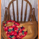 Toddler Bib Large Red Apples on Blue Background