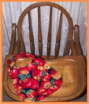 Toddler Bib Large Red Apples on Blue Background
