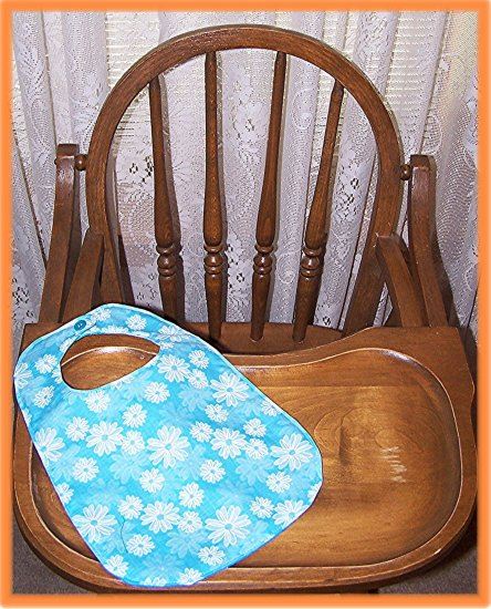 Toddler Girl Bib Blue With Flowers