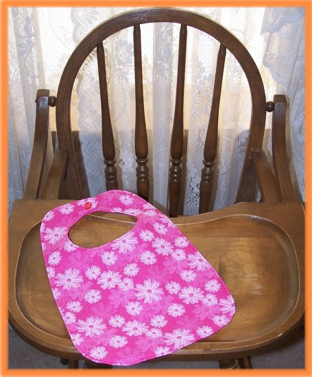 Toddler Girl Bib Pink With Outlined Flowers