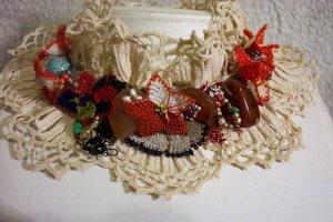 Crochet-needle work necklace ... for precious ladies