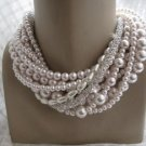 Chunky layered Wedding powder pink glass pearl necklaceee