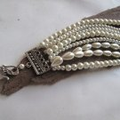 Handmade Pearl Bracelet Chunky Layered Glass .Bridal bracelet,br