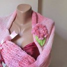 Knitted Wedding shrug. pink ,crochet flower.Ready to ship.Handmade.OOAK.si