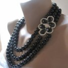 Bridal black glass,rhinestone brooch,bold bridal Pearl necklace