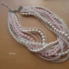 Chunky layered Wedding pearl,pink-white rondelle bead,pink seed bead necklace