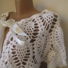 Bridal bolero,wedding,cotton white BRIDE wrap-shawl-Hand crocheted