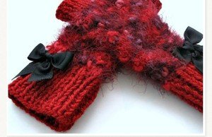 Knitted Red mittens,gloves, Rabbit wool, so soft, .OOAK