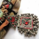 Authentic-ethnic-antique necklace,with cotton fabric , agate beads combination