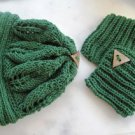 Knitted green hat,beanie-neck warmer set.ss