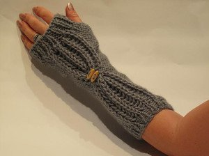 Knitted grey  fingerless mittens,gloves,arm warmer.