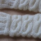 Knitted ivory mohair  fingerless mittens,gloves,arm warmer.