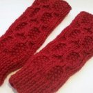 Knitted Red mittens,fingerless,gloves