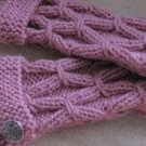 Knitted pink  fingerless mittens,gloves,arm warmer.