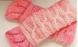 Knitted pink mohair fingerless mittens,gloves,arm warmer.OOAK