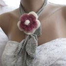 Crocheted  3 colors  flower brooch.lariat -necklace