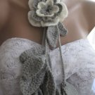 Crocheted grey-ivory flowers.lariat