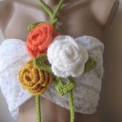 Crocheted yellow,orange,ivory flowers.lariat
