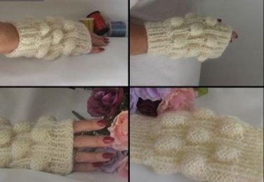 Knitted ivoryi mohair  fingerless mittens,gloves,arm warmer.