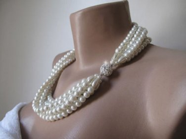 Handmade,chunky layered ivory glass pearl ,wedding necklace.Rhinestone magnetic