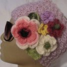 Head-ear warmer,knitted lilac mohair yarn